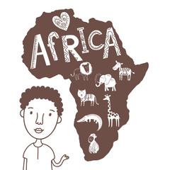 Cute animals of Africa, elephant, crocodile, lion, gorilla, giraffe, zebra, tiger in vector.
