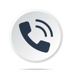 Black Phone icon on white web button