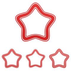 Red line star logo design set