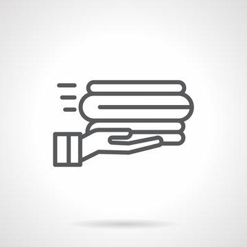 Service linens black line vector icon