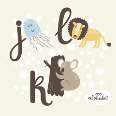 Cute zoo alphabet in vector. J, k, l letters. Funny animals. Jellyfish, koala and lion.