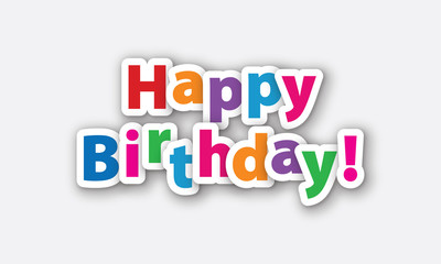 Happy Birthday colored text. Paper design element.