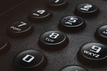 Buttons of black phone