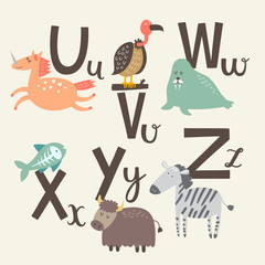 Cute zoo alphabet in vector. V, w, x letters. Funny animals. Vulture, walrus, x-ray fish, Yak and zebra.