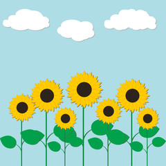 Colorful illustration with sunflowers and clouds