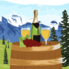 Summer mountain landscape with bottle of champagne, two glasses and grapes on a wooden barrel