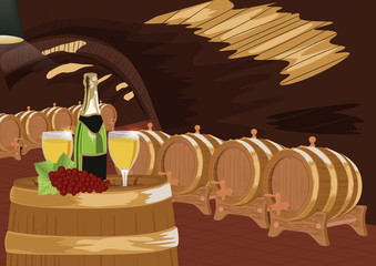 Wine cellar with bottle of champagne, two glasses and grapes on wooden barrel
