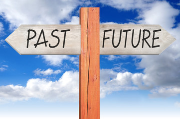 Past or future - wooden signpost