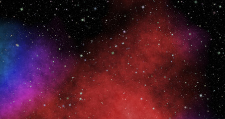 New panoramic looking into deep space. Dark night sky full of stars. The nebula in outer space
