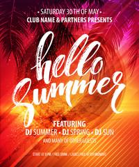 Hello Summer Party Flyer. Vector Design