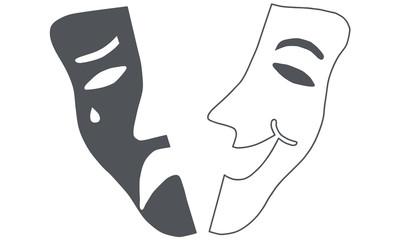 Theatre mask - drama and comedy broken