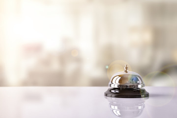 Service bell on hotel reception with Hotel background Wall mural