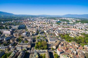 Aerial view of  Geneva city old town in Switzerland