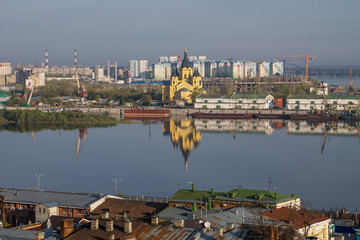 Nizhny Novgorod. View of the city, Alexander Nevsky Cathedral and the mouth of the Oka May morning