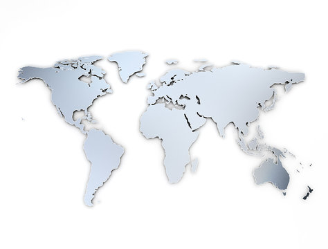 World map metal texture with shadow on white background