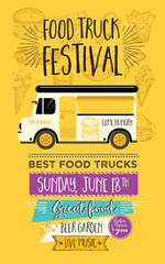 Food truck party invitation. Food menu template design. Food fly