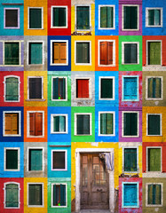 Fototapeta Collage of colorful windows with shutters and one door in Burano, Italy. Grunge filter effect used.