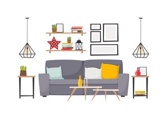 Apartment interior vector illustration.