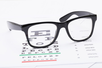 Table for eyesight test and neat glasses over it - close up studio shot