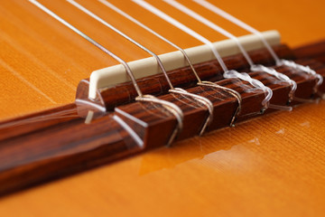 Detail of acoustic Classic Wood Guitar