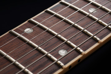 Guitar fingerboard close up