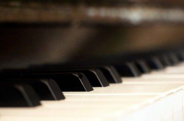 Piano keyboard backgrou d with selective focus