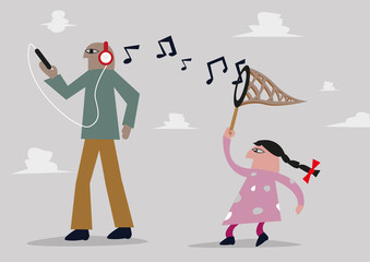 Millennial and Generation Gap concept. Girl catches notes from music headphone. Editable Clip Art.