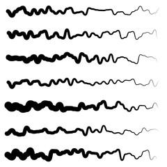 Abstract irregular line set. Different wavy, zigzag dividers, li