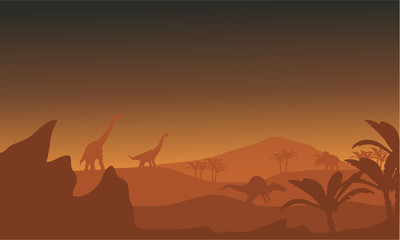 Silhouette of dinosaur in fields