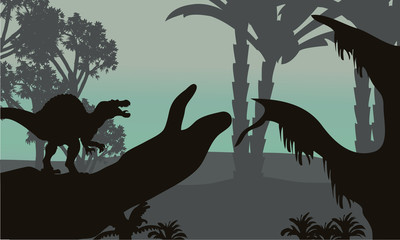spinosaurus in forest scenery silhouette