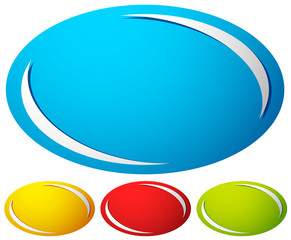 Oval, ellipse badge, button background. Set of 4 colors. generic