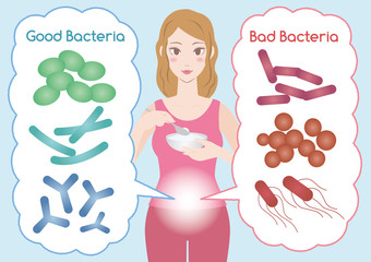 Young woman who eats yogurt, Good Bacteria and Bad Bacteria, enteric bacteria, Intestinal flora, Gut flora, probiotics, image illustration