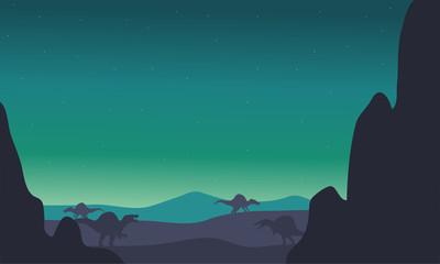 spinosaurus silhouette in hills