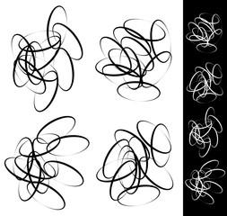 Random, scattered circle, ellipse, oval element set