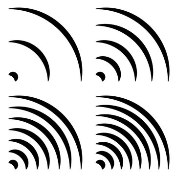 Signal shapes, generic quarter circles, bent lines with differen