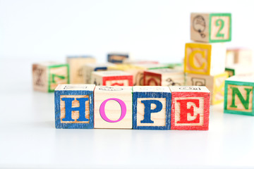 Hope word from wooden letter cubes
