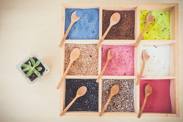 Colorful of fertilizer in wooden box