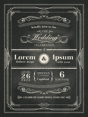 vintage frame wedding invitation card on black chalkboard