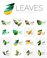 Futuristic design eco leaf logo set