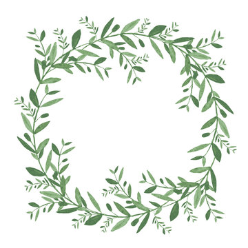 Watercolor olive wreath. Isolated vector illustration on white background