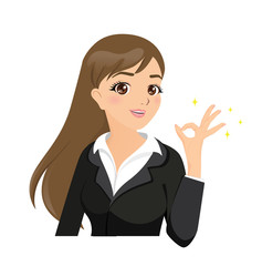 Vector cartoon of beautiful businesswoman making ok sign