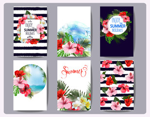 Tropical printable set. Vector cards, notes and banners with toucan, Beach, palm trees, Hibiscus Flower, beautiful panoramic sea view, with clean water & blue sky. Template Vector.