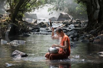 Monk take a bath