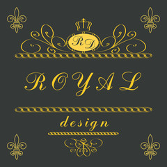 Luxury Logo template flourishes elegant ornament lines. Effect gold. Business sign, identity for Restaurant, Royalty and Boutique, Cafe, Hotel, Heraldic, Jewelry, Fashion and other vector illustration