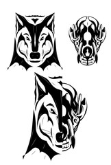 Wolf and skull illustration. Black and white