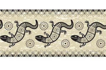 Горизонтальный бесшовный узор  со стилизованным изображением ящериц в племенном стиле.