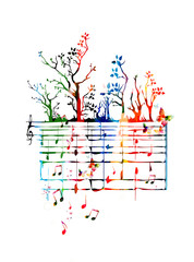 Colorful music background with music notes and butterflies