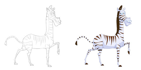 Creative Illustration and Innovative Art: Animal Set: Sketch Line Art and Coloring Book: Zebra. Realistic Fantastic Cartoon Style Artwork Character, Wallpaper, Card Game, Jigsaw Puzzle Design