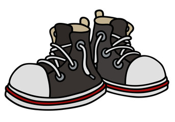 Black sneakers / Hand drawing, vector illustration