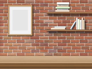 Top table picture frame, bookshelf on brick wall background.